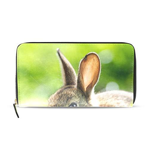 Womens Wallets Cute Grey Rabbit Images Leather Passport Wallet Coin Purse Girls Handbags