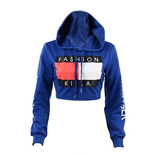 U-WARDROBE Casual Hoodie Literal Printing Sport Crop Top Sweatshirt Jumper Pullover Tops Blue M
