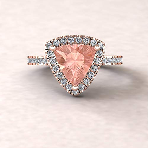 Trillion Cathedral Ring - Classic Genuine 8mm Morganite and Diamond Engagement Ring from our Helena Collection - By Laurie Sarah - LS5889