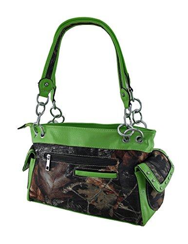 Rhinestone Studded Womens Green Camouflage Cross Nylon Handbags Purse 1wItqtAR