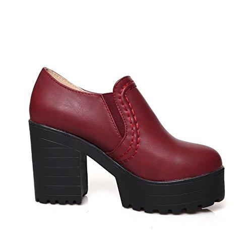 Balamasa Dames Elastische Pumps Met Hoge Hakken Stevige Microfiber Pumps-schoenen Claret
