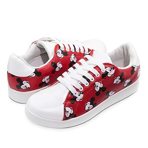 Disney Junior Teen Women Low Top Mickey & Minnie Fashion Sneakers - Rubber Soled
