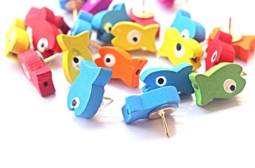 (20 PCS Fishes Shape Pushpins, Wooden Bulletin Board Borders Push Pins, Lovely Bulletin Boards Thumb Tacks, Cute Thumbtacks Decorative for corkboard of Home and Office)