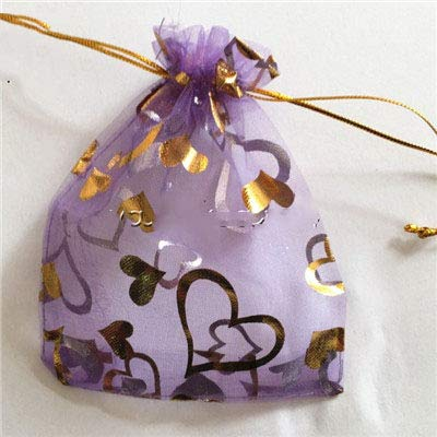 XLPD 100 Pcs/Lot Lovely Heart Organza Drawstring Pouches Jewelry Wedding Favor Gift Bags Household to Choose Purple Heart 9x12 cm