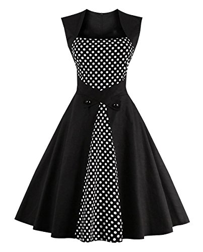 Pin Up Dresses For Sale (Killreal Women's Vintage Style Sleeveless Polka Dot Casual Cocktail Party Dress Black/White Large)