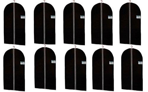 10er Set Kleidersack in schwarz - 150 x 60 cm - hochwertige Qualität