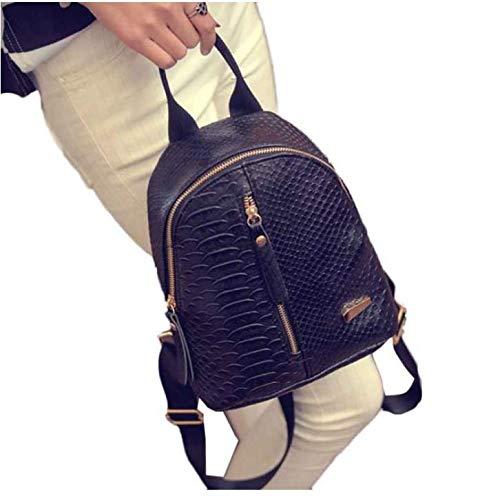 Outsta Travel Shoulder Bag,Women Leather Backpacks Schoolbags Lightweight Classic Basic Water Resistant Backpack School Bag (Black)