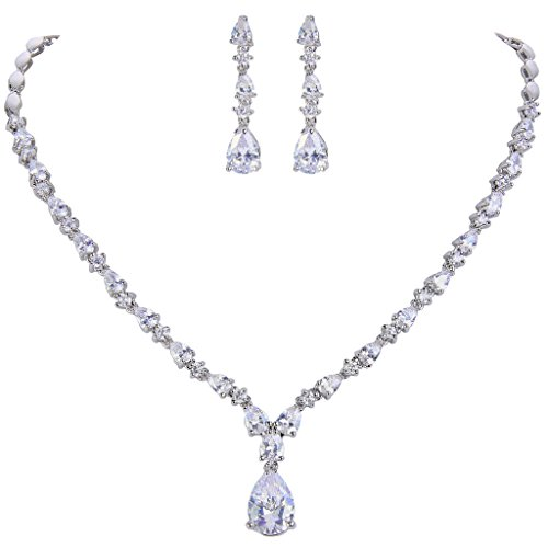 EVER FAITH Silver-Tone Cubic Zirconia Charming Water Drop Bridal Pendant Necklace Earrings Set ()