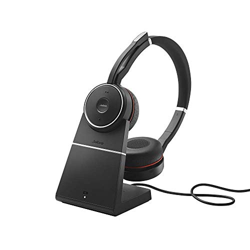 Jabra Evolve 75 UC Wireless Headset, Stereo - Includes Link 370 USB Adapter and Charging Stand - Bluetooth Headset with World-Class Speakers, Active Noise-Cancelling Microphone, All Day Battery