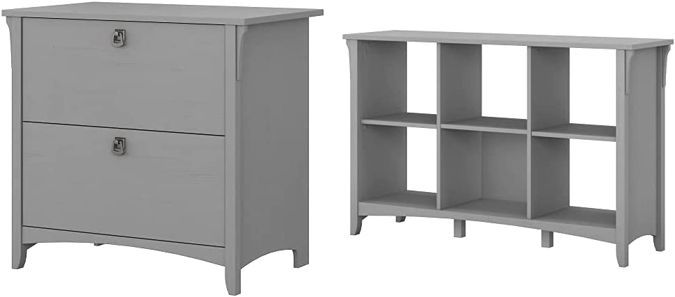 Bush Furniture Salinas Lateral File Cabinet in Cape Cod Gray & Salinas 6 Cube Organizer, Cape Cod Gray