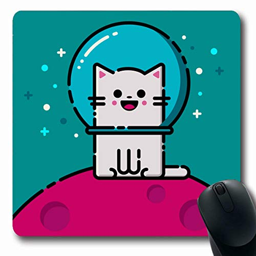 (Ahawoso Mousepad Oblong 7.9x9.8 Inches Blue Happy Emoticon Cat Space Pet Pink Face Fish Bowl Eye Fishing Design Kitty Office Computer Laptop Notebook Mouse Pad,Non-Slip Rubber)