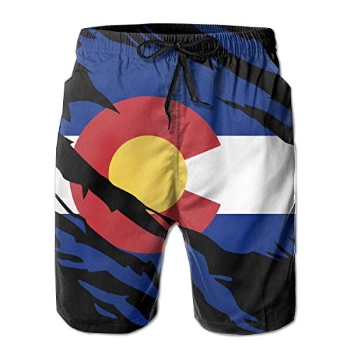 STLYESHORTS Ripped Colorado Flag Mens Board Shorts Swim Trunks Beachwear Athletic Gym Trunks Black