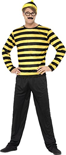 Costume Wally Odlaw Where (Where's Wally Odlaw Costume Black & Yellow Chest 38