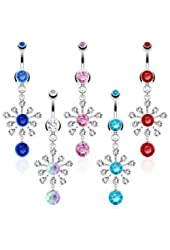 Body Accentz® 316L Surgical Steel Sunburst with Multi Gem Navel Ring Body Jewelry Dangle 14 Gauge Belly Button Ring
