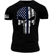 Punisher Thin Blue Line American Flag Premium Athletic Fit T-Shirt