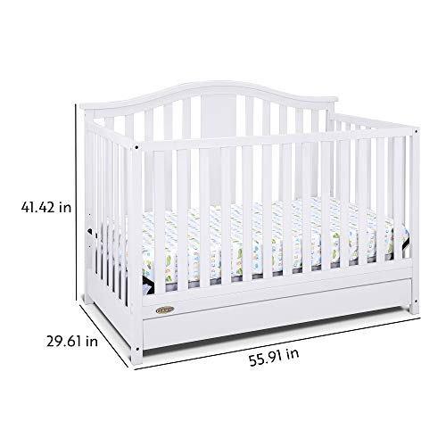 41rdc7VDXZL - Graco Solano 4-in-1 Convertible Crib With Drawer, White, Easily Converts To Toddler Bed Day Bed Or Full Bed, Three Position Adjustable Height Mattress, Some Assembly Required (Mattress Not Included)
