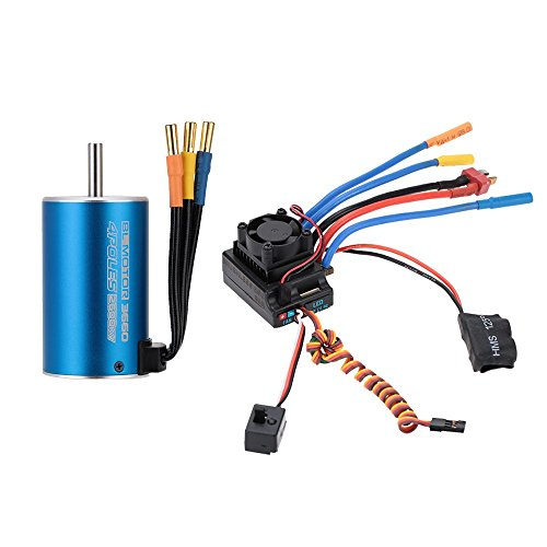 Jrelecs 3660 2600KV 4P Sensorless Brushless Motor & 80A Brushless Splash-Proof Electronic Speed Controller ESC with 5.3V/5A Switch Mode BEC for 1/8 1/10 RC Car (3660 2600KV)