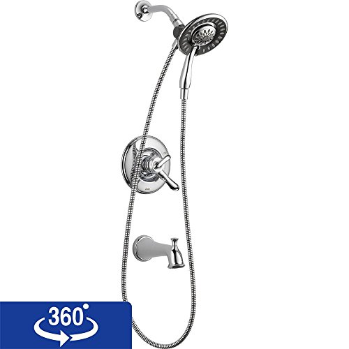 Delta T17494-I Linden 17 Series Dual-Function Tub and Shower Trim Kit with 2-Spray In2ition 2-in-1 Hand Held Shower Head with Hose, Chrome (Valve Not Included)
