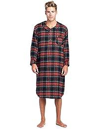 Mens Flannel Plaid Long Sleep Shirt Henley Nightshirt 7ab76c50c