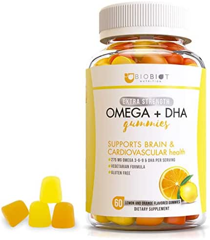 Maximum Omega 3-6-9 & DHA Chewable Gummy Supplement with Algae, Chia & Coconut Oil for Kids & Adults - Supports Brain & Immune Functions - Vegetarian & Gluten-Free – 60 Gummies Orange & Lemon Flavor