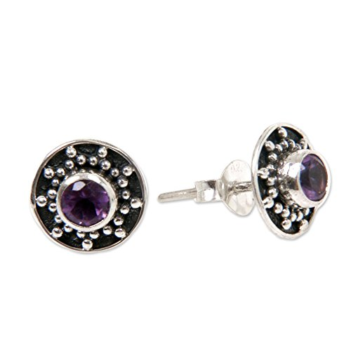 NOVICA 925 Sterling Silver and Amethyst Stud Earrings, Winter Halo .42 cttw