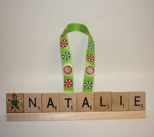 Gingerbread Man Ornament, Custom Ornament, Scrabble Ornament, Personalized Christmas Ornament, Name Ornament, Custom Ornament (Birth Tile Personalized)