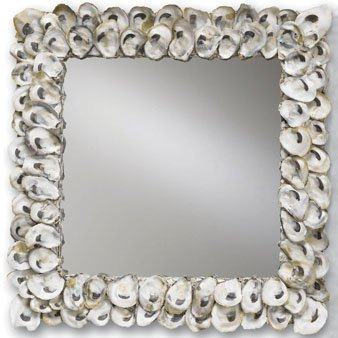 Natural Shell Finish - Currey and Company 1348 Oyster Shell Square Mirror, Natural Shell Finish