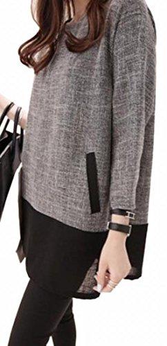 Long Jaycargogo Sleeve Womens Casual Light Size Mini Contrast Plus Grey Loose Color Dress 6ntxrSgnU