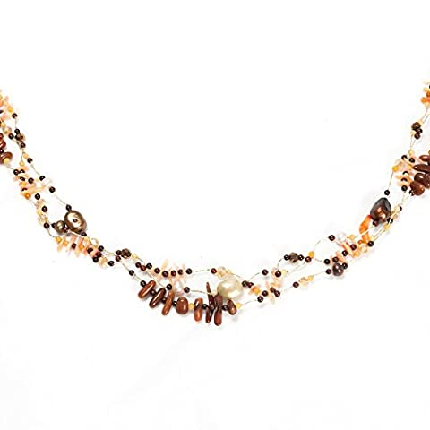 Handemade Cultured Freshwater Pearl Sea Coral Multi Strand Silk Thread Long Necklace 36