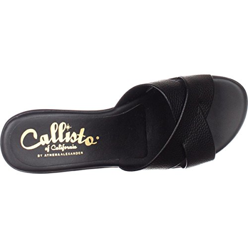 Callisto Womens Black Open Toe dimple Mules 6w06xqprY