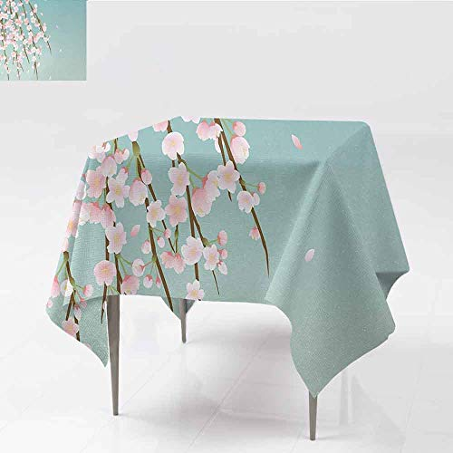 - DILITECK Square Polyester Tablecloth Weeping Flower Freshly Blooming Cherry Blossom Branches with Flower Buds Great for Buffet Table W36 xL36 Pale Pink Baby Blue and Taupe