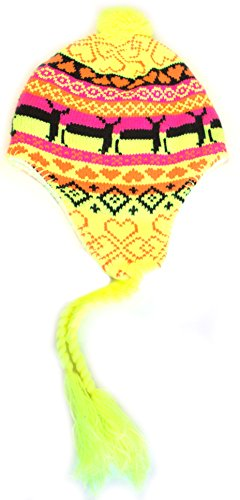 Neon Yellow Orange Accent Deer Tassel Beanie (Wool Argyle Hat)