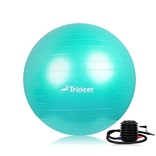 Trideer Yoga Ball, Exercise Ball, Anti-Burst & Extra Thick, Heavy Duty Pilates Ball Chair, Birthing Ball with Quick Pump, 55cm 65cm 75cm Stability Ball Supports 2200lbs (Workplace&Residence) – DiZiSports Store