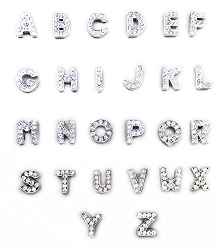 ALL in ONE A-Z 26pcs Rhinestone Alphabet Letter Slide Charms Beads 8mm