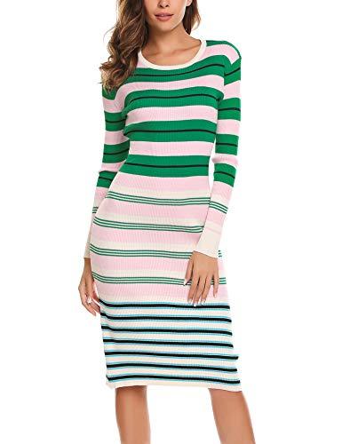 ea661ff0126 BEAUTYTALK Women s Long Sleeve Striped Knit Sweater Work Casual Pencil Dress  Misty Rose XXL