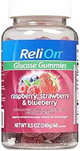 ReliOn Glucose Gummies Raspberry, Strawberry, and Blueberry - 60 Count Bottle