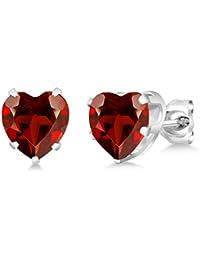 4.00 Ct Heart Shape 8MM Red Garnet 925 Sterling Silver Gemstone Birthstone Stud Earrings