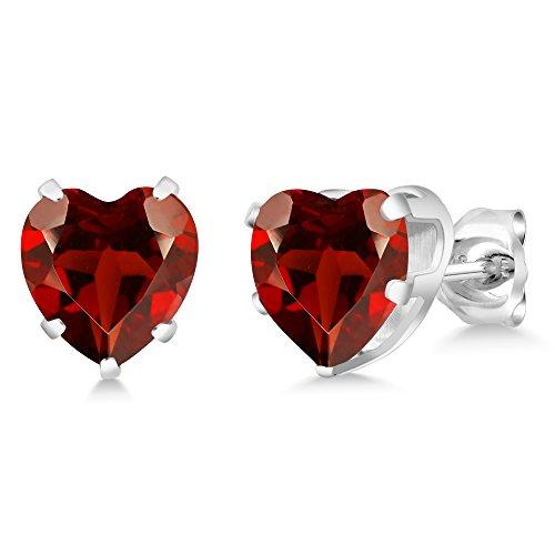 Garnet Birthstone Heart Earrings - 4.00 Ct Heart Shape 8MM Red Garnet 925 Sterling Silver Gemstone Birthstone Stud Earrings