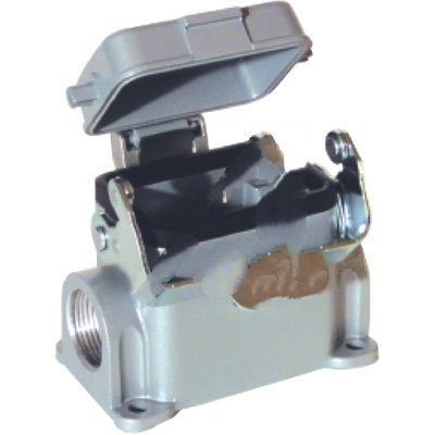 Lapp USA 100090, CONNECTOR, HBE 6 SURFACE MOUNT BASE DOUBLE ENTRY SINGLE LEVER & DUST COVER