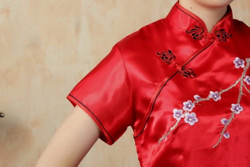 JTC Women's Flower Embroidered Chinese Long Qipao Dresses 5 Colors (XL, Red) by Jtc (Image #4)