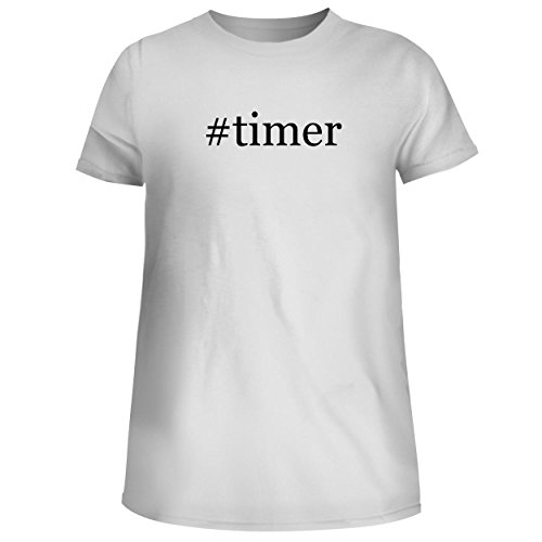(BH Cool Designs #Timer - Cute Women's Junior Graphic Tee, White, Large)