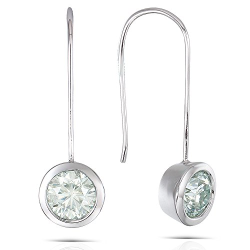(2CTW Diameter 6.5mm Round Brliiant Moissanite Dangle Earring Bezel Setting Platinum Plated Silver For Women)