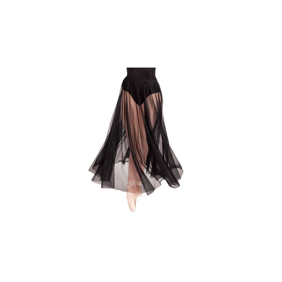 Body Wrappers Long Full Chiffon Skirt, Black, Small/Medium