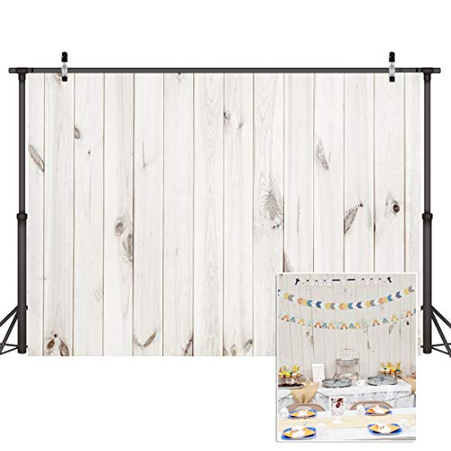 CYLYH 7x5ft Wood Backdrop White Wood Pattern Photo Background Collapsible Party Decoration Backdrops D099]()
