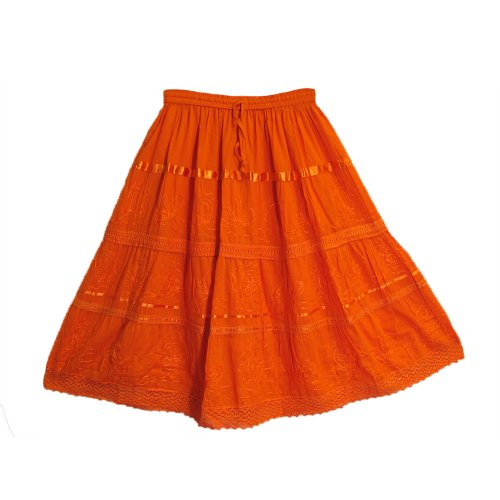 Yoga Trendz Womens Three-Tier Bohemian Gauze Cotton Mid Length Embroidered Skirt (Orange) (Tier Skirt 3)