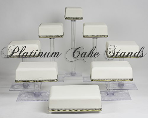 8 TIER CASCADE WEDDING CAKE CUPCAKE STAND SQUARE (STYLE SQ845) by platinumcakeware (Image #3)