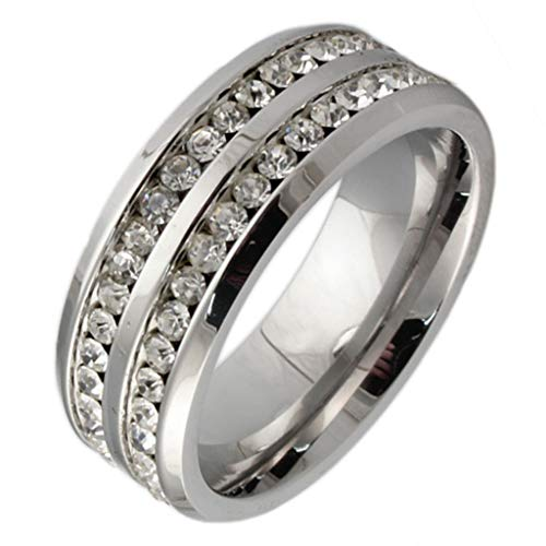 - ANAZOZ Customize Stainless Steel Rings for Men Wedding Rings Cubic Zirconia Light Gray 2 Row Size 10