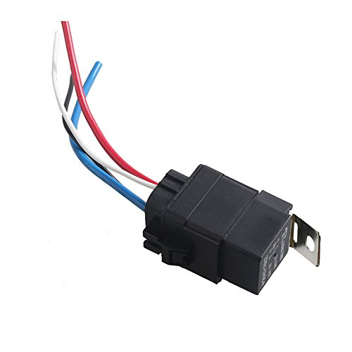ESUPPORT Car Truck Motor Heavy Duty 12V 40A SPST Relay Socket Plug 4Pin 4 Wire Waterproof Kit Iron - Fuel Pump 30a