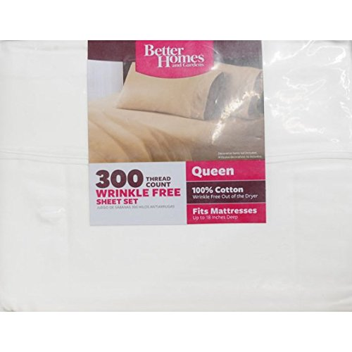 Better Homes and Gardens 300 Thread Count Sheet Collection Queen, Arctic White