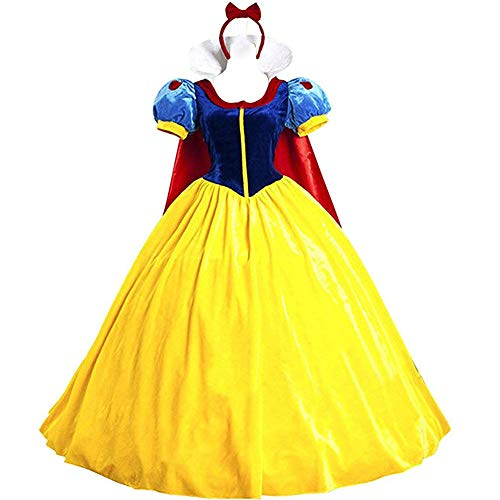 KUFV Women Snow White Princess Costume with Headband for Teens & Adult S-XXL -